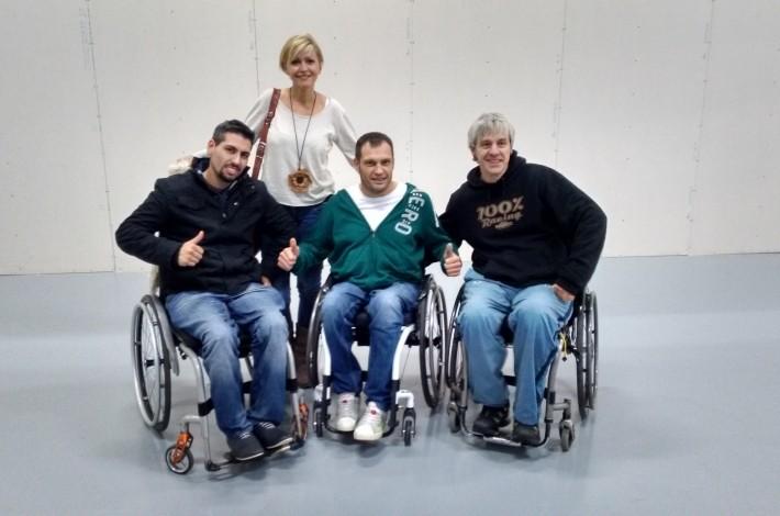 Ana González con tres grandes campeones Albert llovera, Domingo Pulido y Miguel Serral